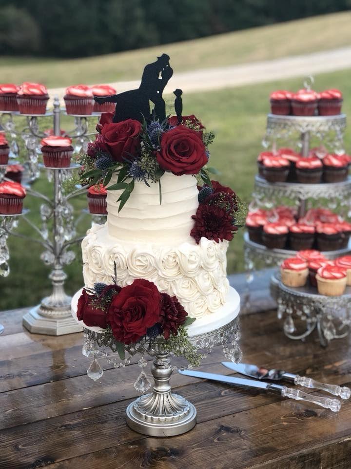 Wedding Cake Flowers Outdoor Wedding Burgundy Flowers Romantic