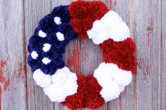 Memorial Day or 4th of July Day Wreath or just because you love to be an American! Red, white, and blue pom pom wreath $45.00