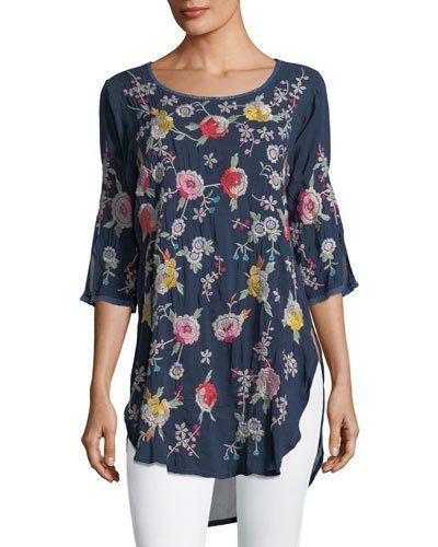 Johnny Was Playa Embroidered Georgette Tunic Plus Size Johnnywas