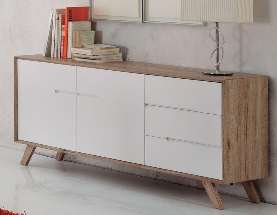Buffet scandinave laqué blanc et couleur bois LARS | Home ...