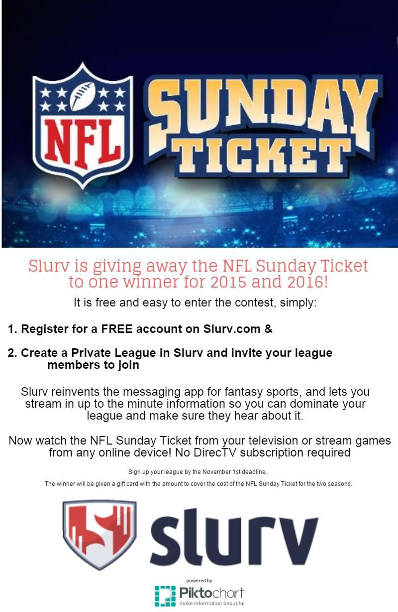 Slurv is giving away the NFL Sunday Ticket for FREE for