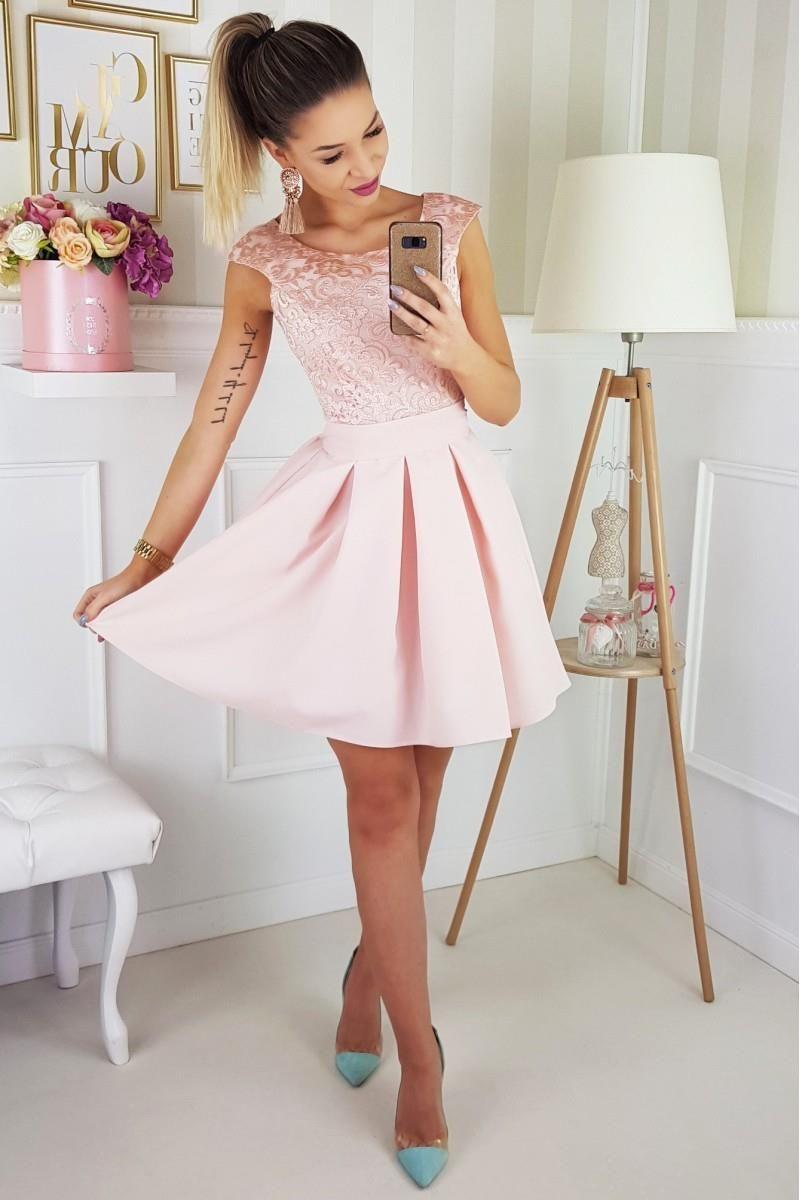 88f82d21cc Koktajlowa Sukienka Rozkloszowana z Paskiem Jasny Róż BI2141-12 ...