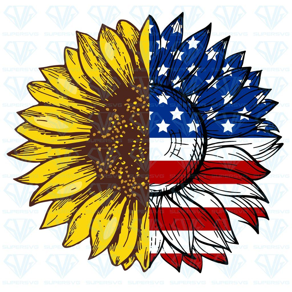 Sunflower American Flag SVG Files For Silhouette, Files For Cricut, SVG, DXF, EPS, PNG Instant Download