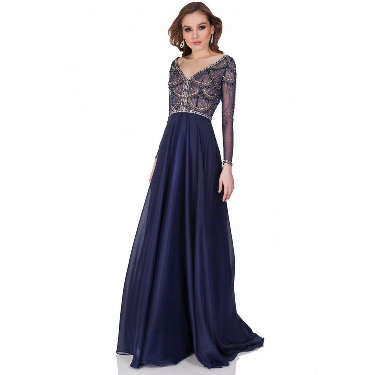 Silver + Navy Art Deco Gown | Vintage Style Dark Blue Evening Gown ...