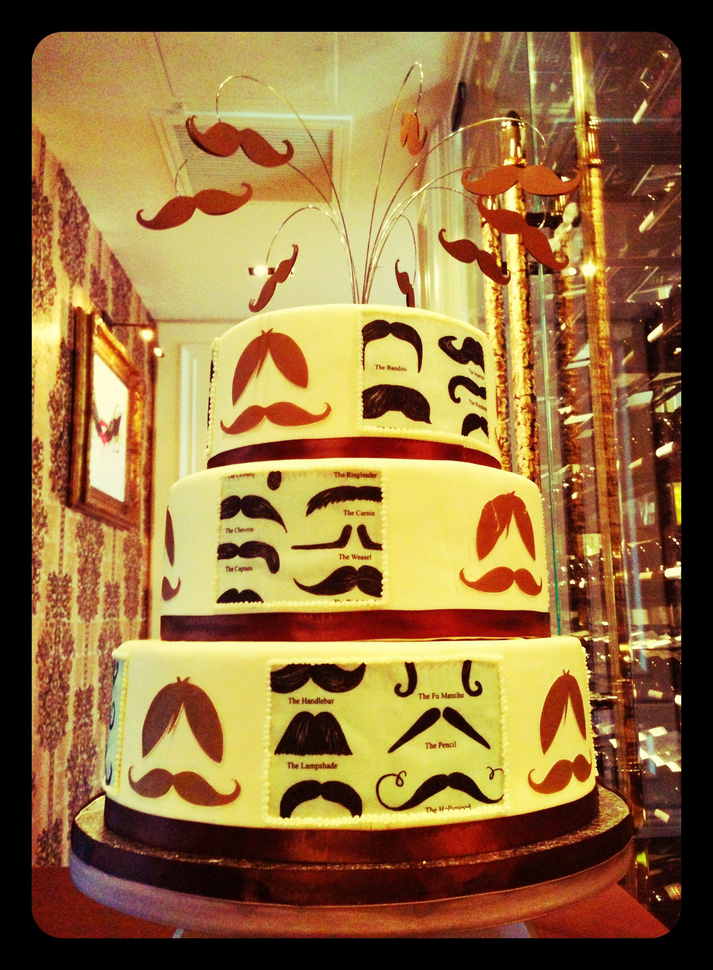 Mustache Bash birthday cake, red velvet, cream cheese mousse (The Barrymore, Las Vegas)