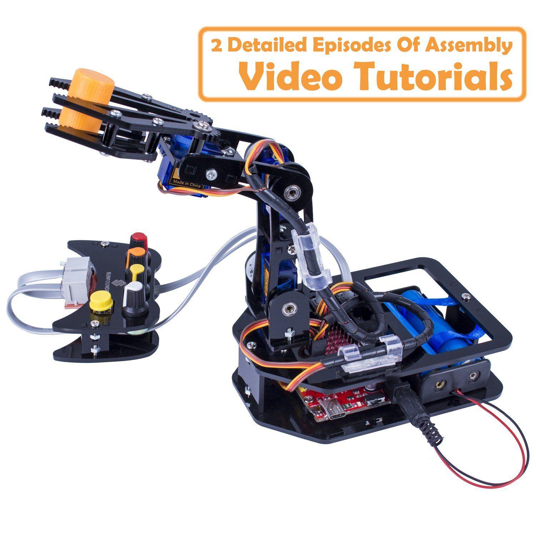Amazon com: SunFounder DIY Robotic Arm kit 4-Axis Servo Control