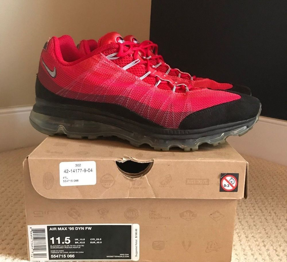 60b4c953de ... official nike air max 95 dyn fw size 11.5 red black silver 554715 066  used original