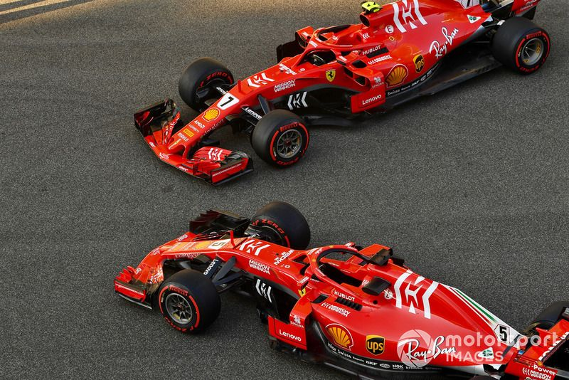 Ferrari SF71H van Sebastian Vettel, Ferrari en Kimi