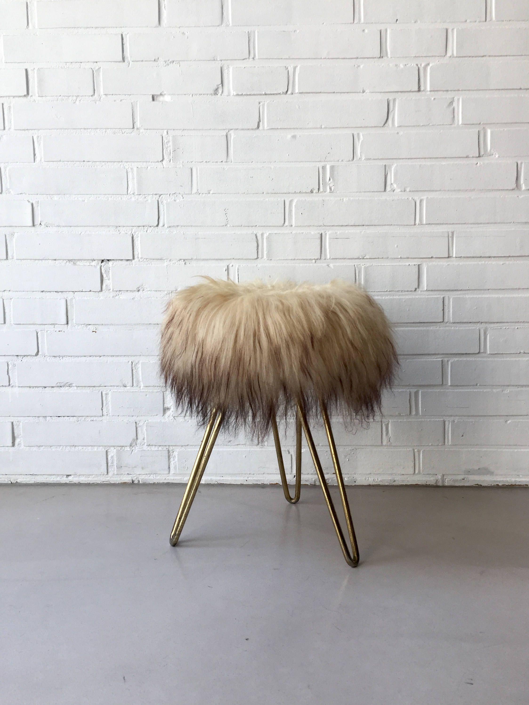 Vintage mid century fur stool stool, Tripod stool, small table ...
