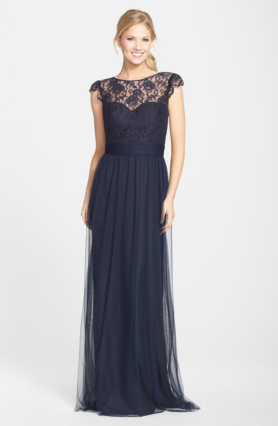 Womens amsale lace tulle cap sleeve gown lace cap dagde and amsale lace tulle cap sleeve gown navy ombrellifo Gallery