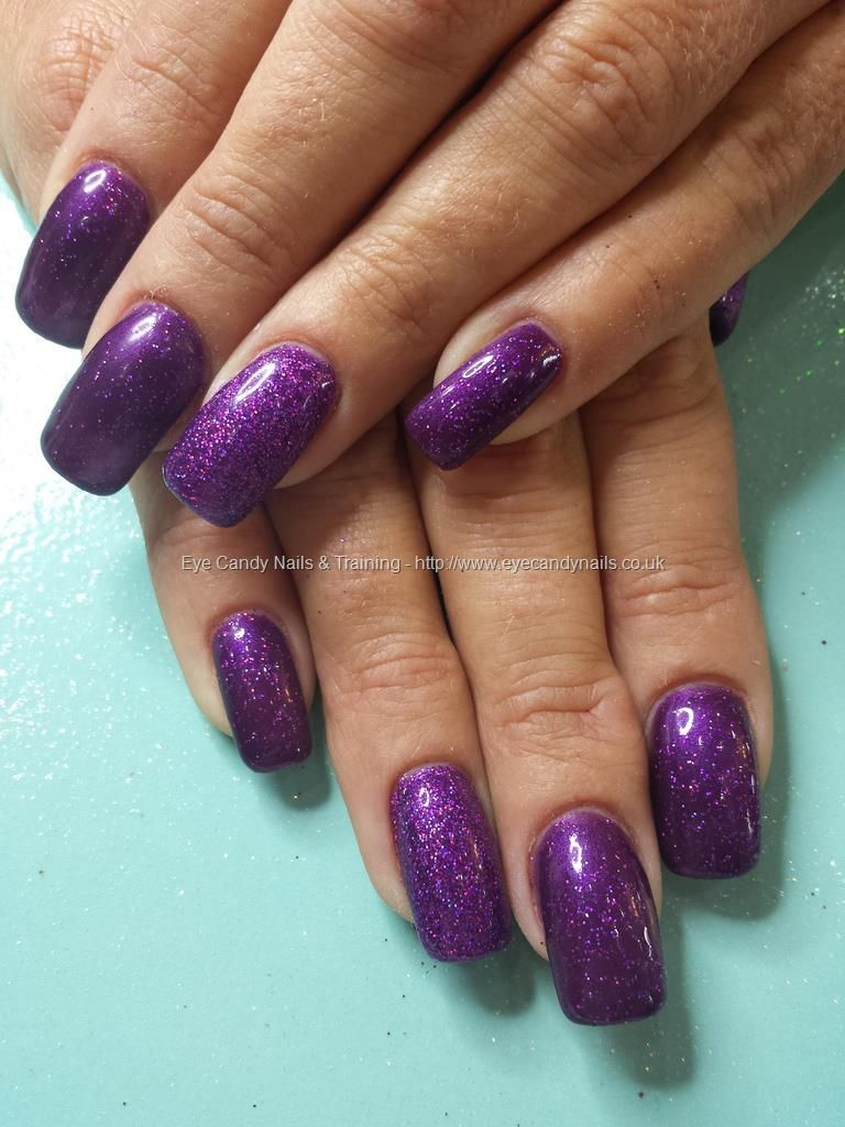 Purple Gel Polish With Glitter Ring Fingers Nails