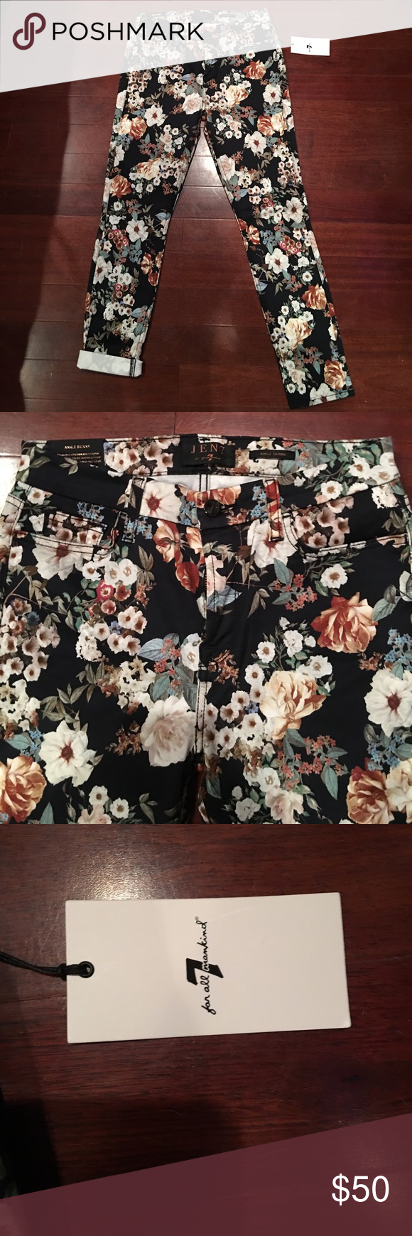 JEN7 for 7 for all mankind Floral Jean Size 4 NWT Brand new with tag, Size 4/27, floral pattern, style is ankle skinny 7 For All Mankind Pants Skinny