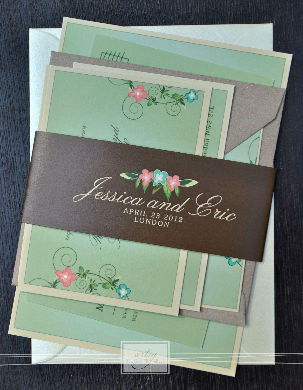 Fl Vintage Wedding Invitation Suite Mint Green Pink