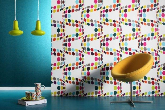 3d vliestapete bunte interessante farbschemen Wandgestaltung - schöne tapeten fürs wohnzimmer