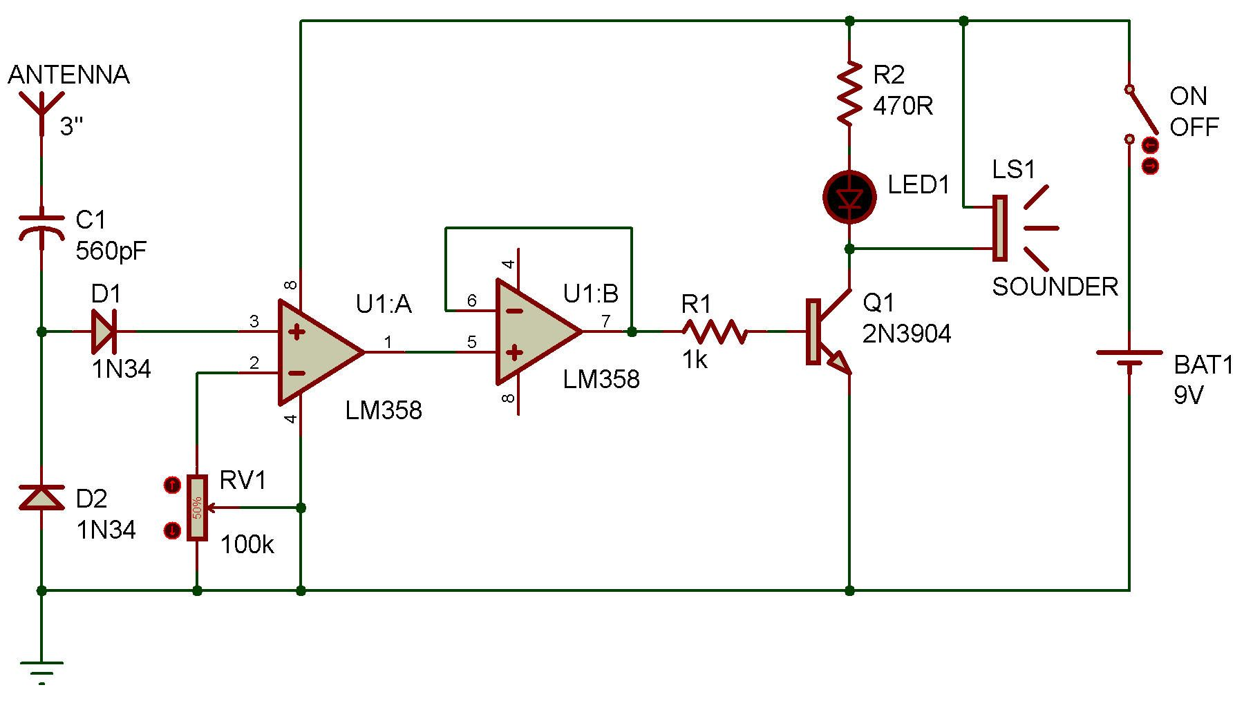 Http Www Zpag Net Electroniques Radio2 Long Range Cell Phone Detector Lm358 Html Electronic Circuit Projects Electronic Kits Electronic Engineering