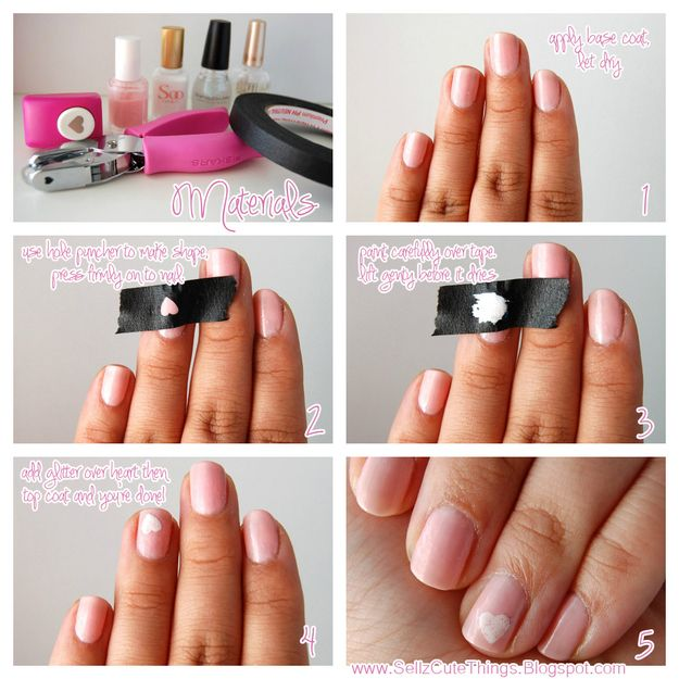 Create An Easy Heart With A Heart Shaped Hole Punch And Painters Tape Nail Art Hacks Simple Nail Art Designs Simple Nails