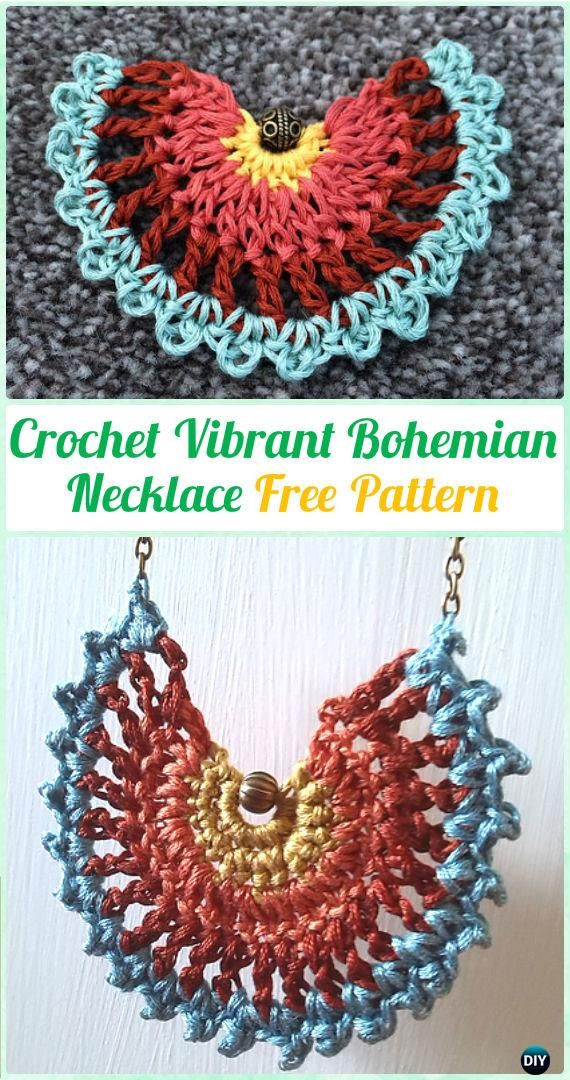Crochet Vibrant Bohemian Necklace Free Pattern Crochet Jewelry