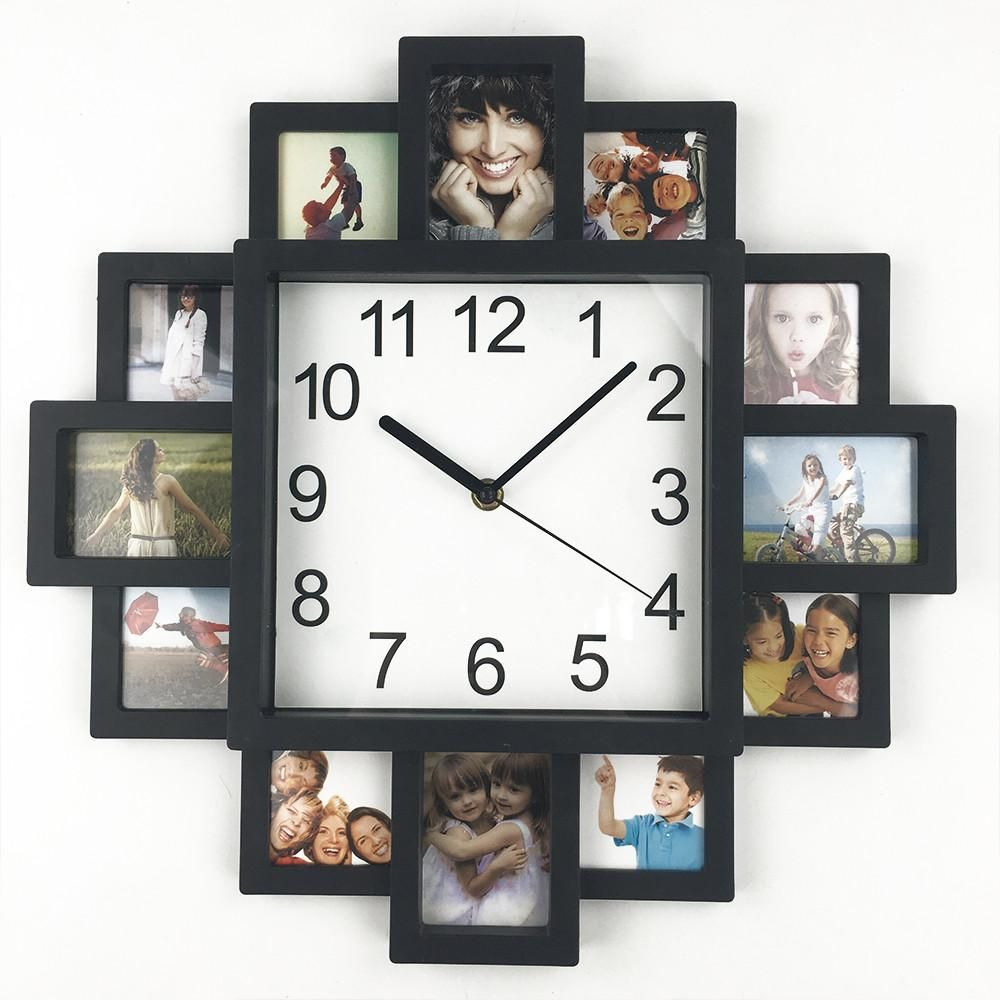 This Square Wall Clock With 12 Photo Frames Offers Unlimited Design Ideas And Is A Great Addition To Any Ro Diy Clock Wall Photo Wall Clocks Photo Frame Design