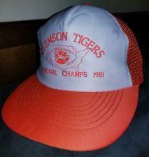 6a922770 VTG 1981 CLEMSON TIGERS NATIONAL CHAMPS MESH SNAPBACK HAT FOOTBALL 80'S