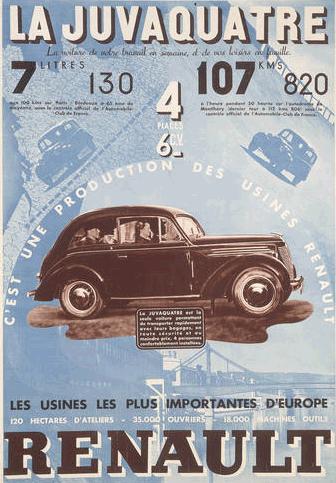 1938 affiche publicitaire pour la juvaquatre de renault cette affiche vante tout autant les. Black Bedroom Furniture Sets. Home Design Ideas
