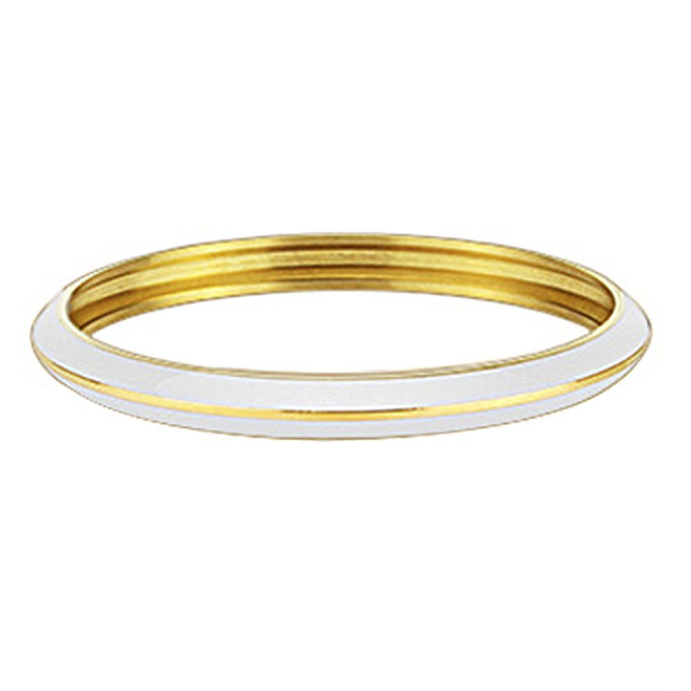 Spikes womens l stainless steel gold ip white enamel bangle