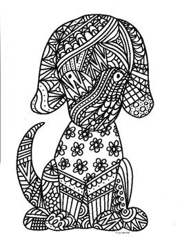 dog coloring pages pdf | Shepherd Dog Zentangle Coloring Page | design | Elephant ...