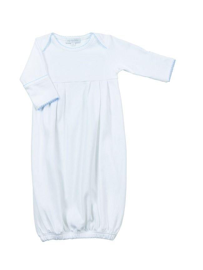 Baby boy white gown, pleated style, with blue hand embroidered ...