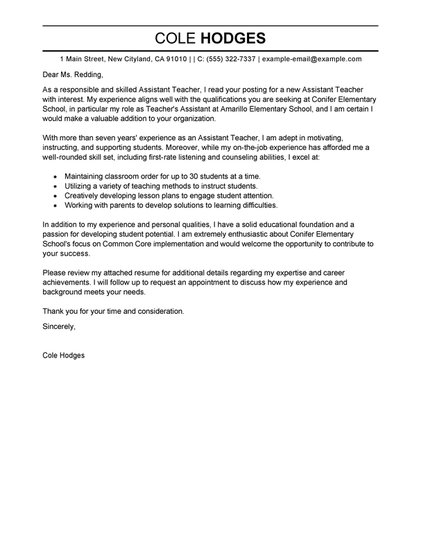 Cover Letter Template Teacher Assistant | Cover Letter Template ...