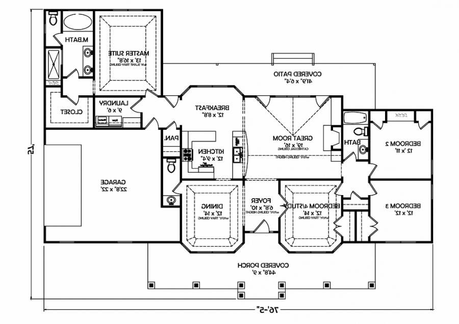 Traditional Ranch House - House Plans by DSMS