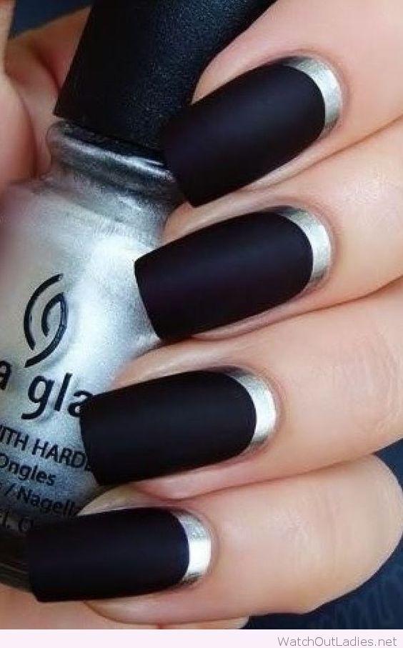 Matte black nail color with silver detail   uñas   Pinterest   Matte ...