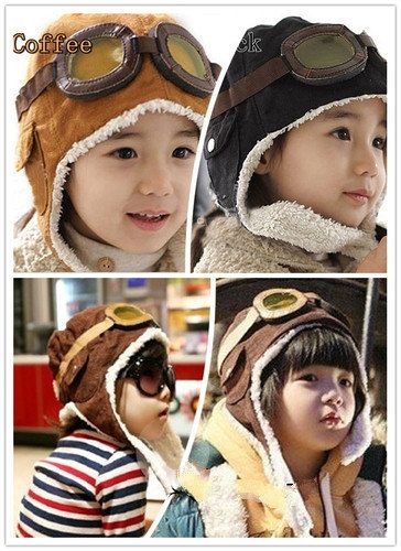 ae1a08ed5ef Cool Baby Toddler Boy Girl Kids Pilot Aviator Warm Cap Hat Beanie Black    Coffee on Etsy