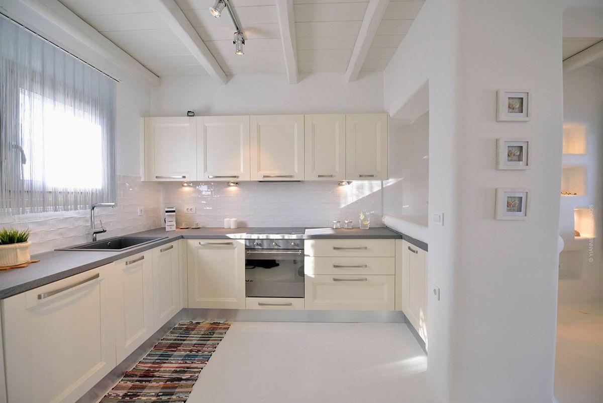 Modern Mediterranean White Kitchen  Mykonos villas, Mediterranean