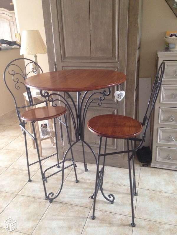 table et chaises de bar fer forge