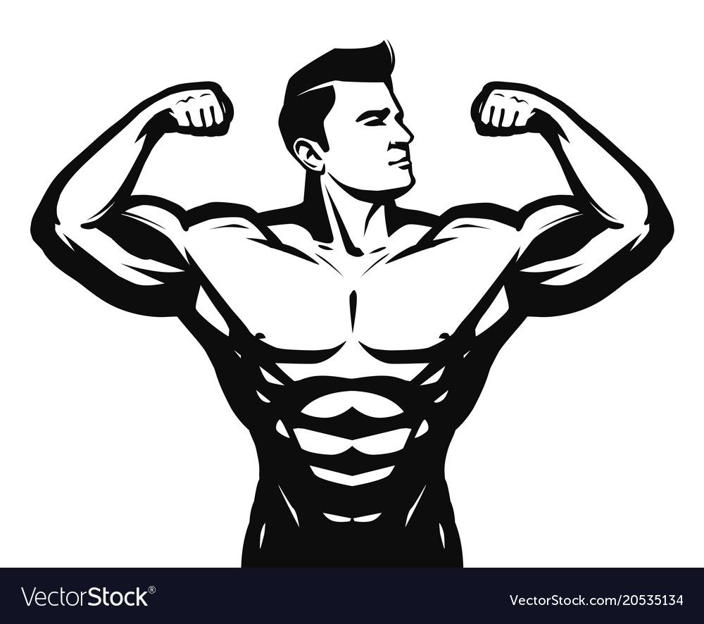 Gym Sport Bodybuilding Logo Or Label Strong Man With Big Muscles Vector Illustration Isolated On White Background Dow Vucut Gelistirmeci Saglikli Kalcalar