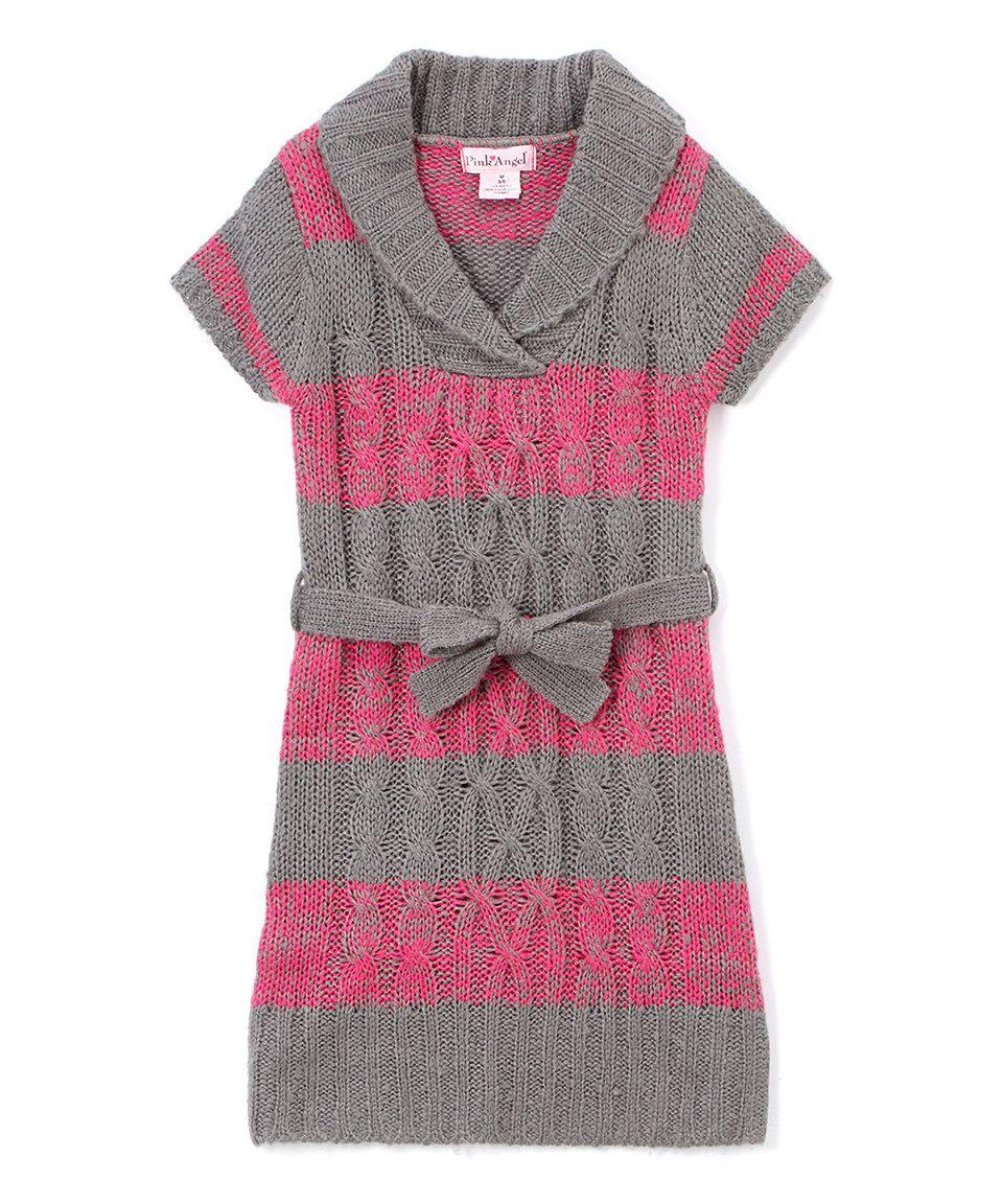 This Pink Angel Fuchsia & Gray Stripe Tie-Waist Shawl-Collar Dress - Girls by Pink Angel is perfect! #zulilyfinds