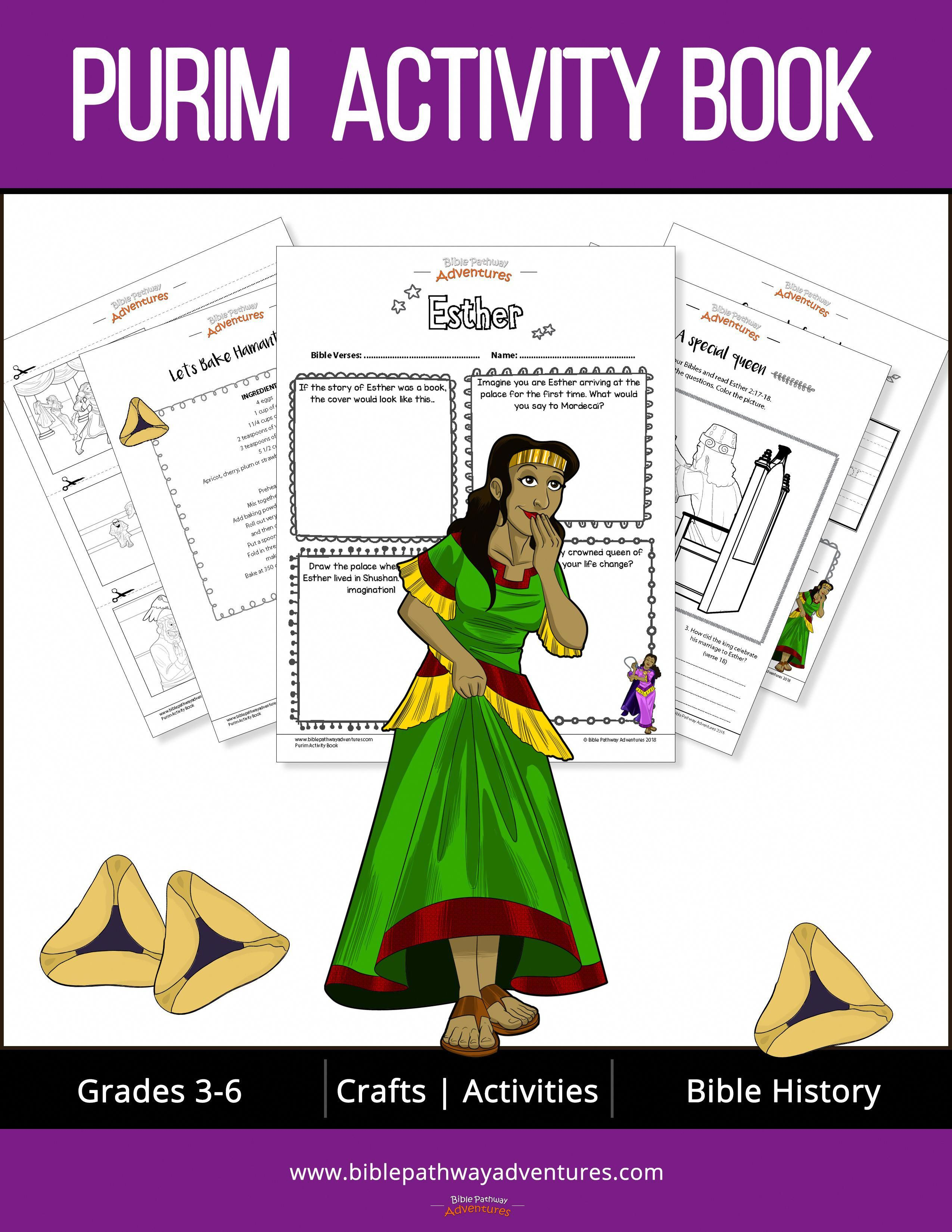 Purim Coloring And Activity Book Printable Activity Pages For Purim Hebrewforkids Book Activities Purim Learn Hebrew