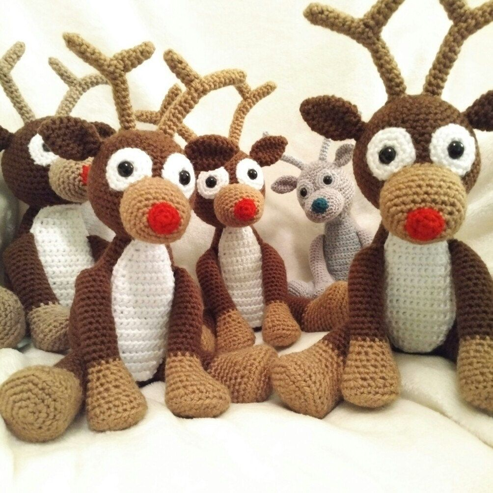 PDF Reindeer Crochet Pattern, Rudolph the Red Nosed Reindeer Crochet ...