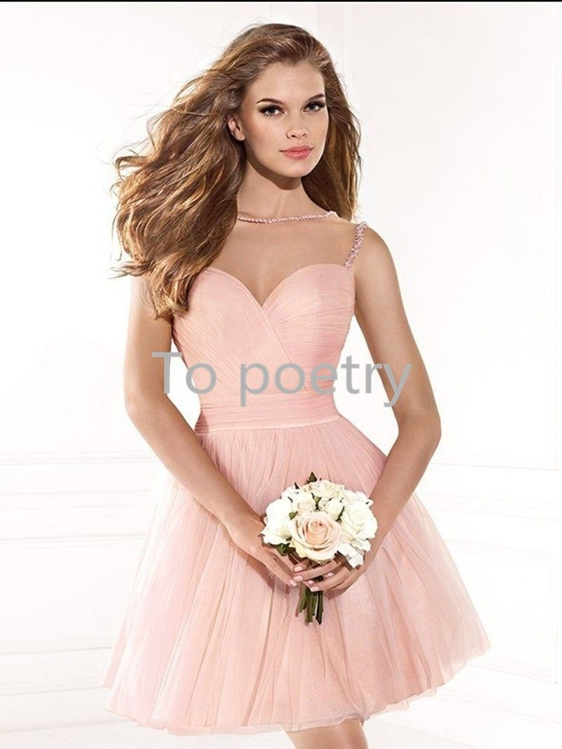 Baratos Sexy Pink cocktail curto vestidos clube vestidos de chiffon ...