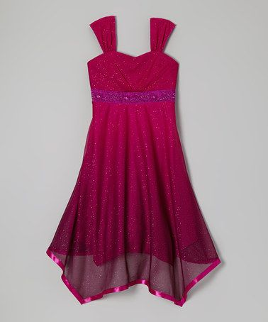 Take a look at this Berry Glitter Handkerchief Dress by Speechless on #zulily today!