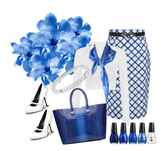 """""""Feeling blue"""" by natalie-rosenberg ❤ liked on Polyvore featuring Jonathan Saunders, Oscar de la Renta, Pinup Couture, WearAll, Victoria Beckham, Michael Kors and Hermès"""