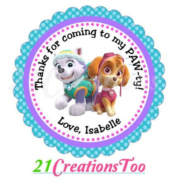 30 Paw Patrol Thank You Lollipop Party Favors Birthday Stickers