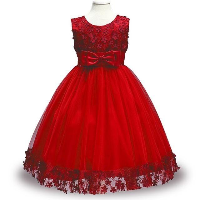 d04a8bbc1d1 Kids Infant Girl Flower Petals Dress Children Bridesmaid Toddler ...
