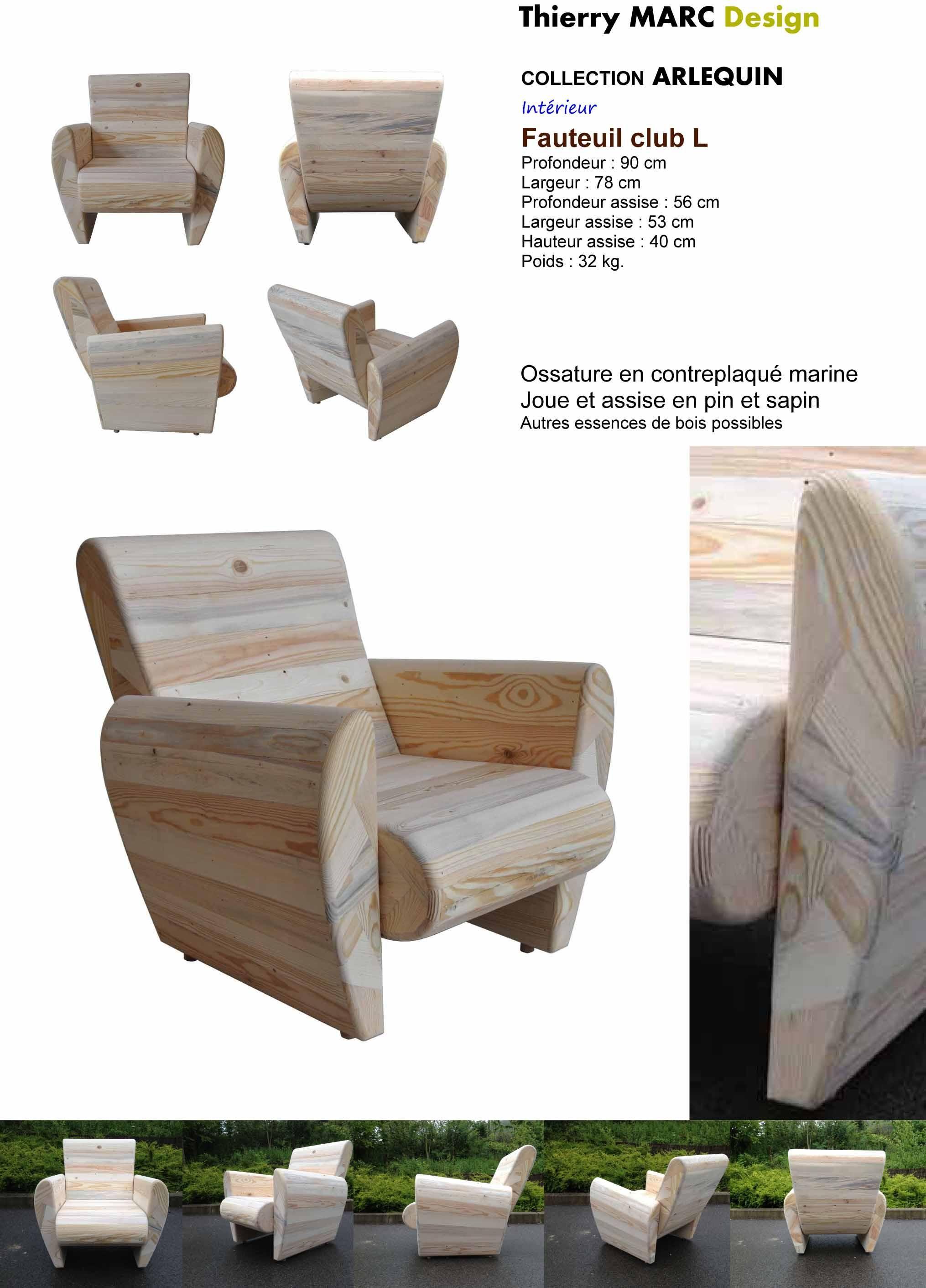 fauteuil club design vintage thierry marc bois recyclé ...