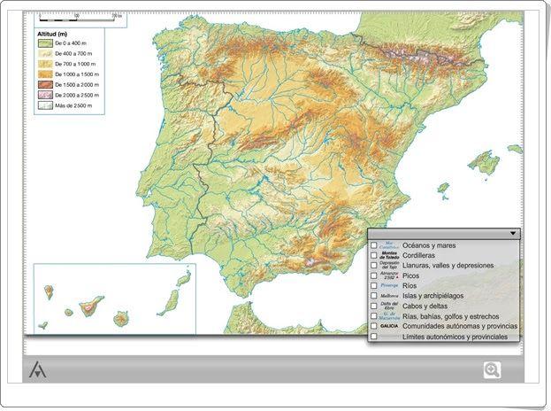 Mapa Rios España Interactivo.Mapa Interactivo Fisico De Espana Editorial Anaya Mapa