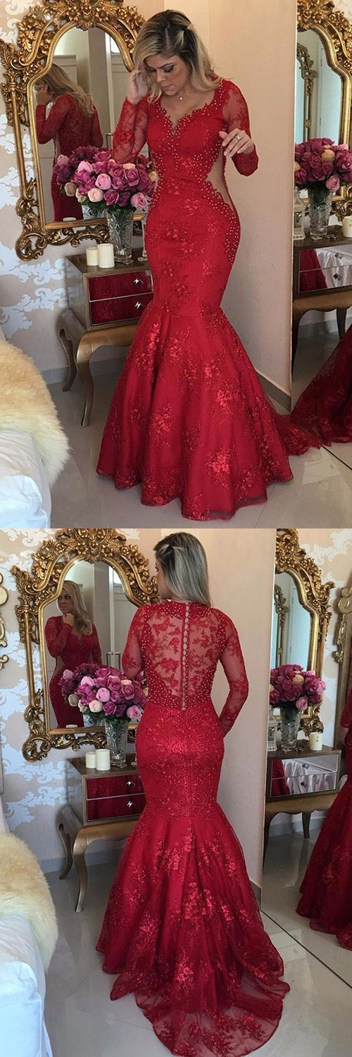 Red Prom Dresses Mermaid, Lace Formal Dresses V-neck, 2018 Party ...