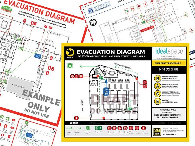 An emergency evacuation diagrams from a Working space in