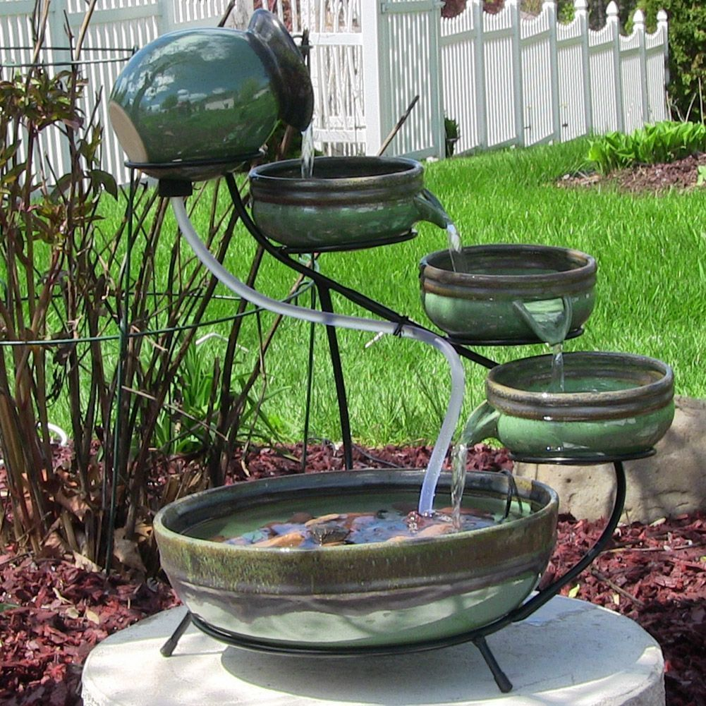 Sunnydaze Green Sand 21 Tall Ceramic Cascade Solar Garden Patio Water Fountain With Images Patio Water Fountain Water Fountains Outdoor Solar Water Fountain