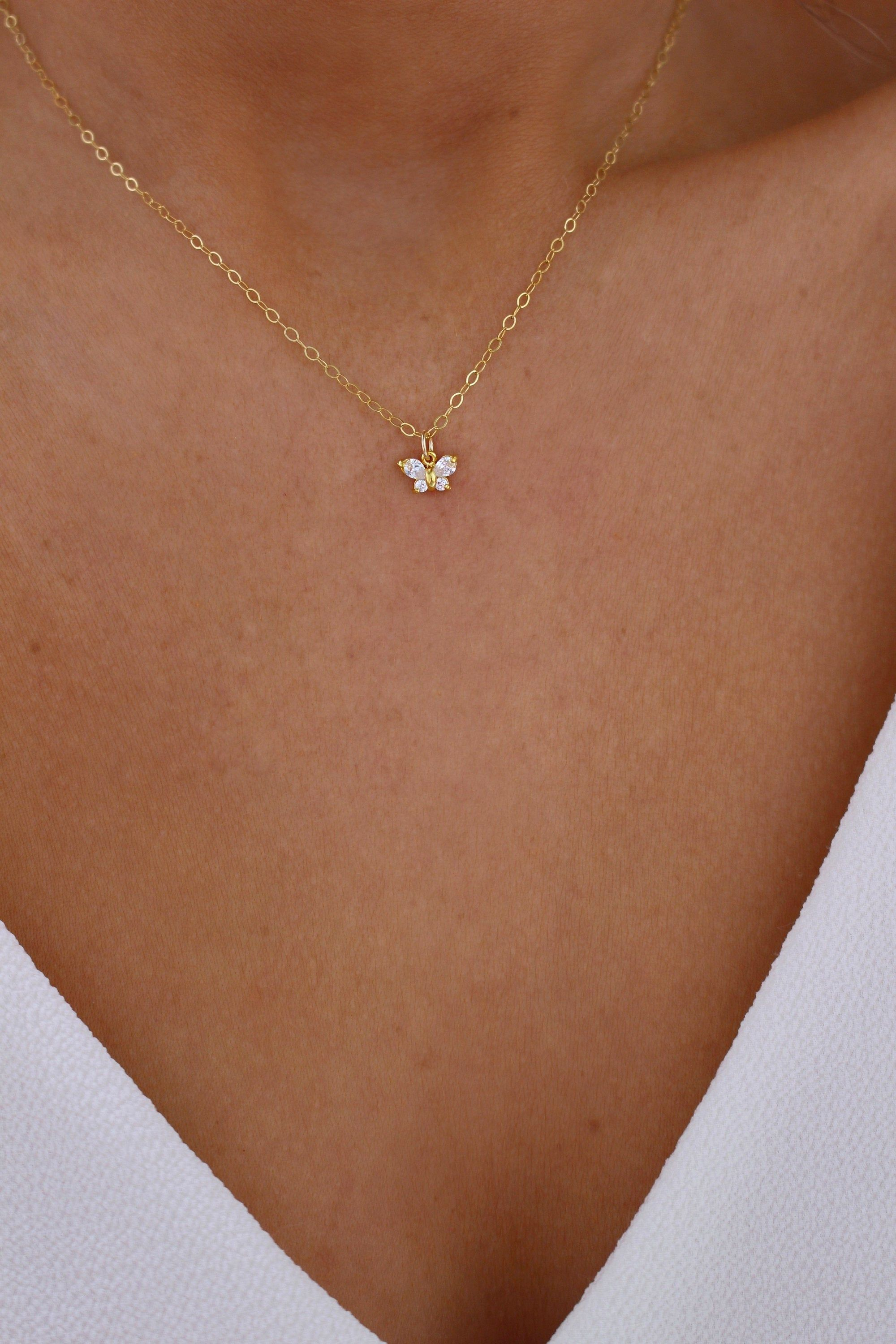 Butterfly Necklace dainty gold chain simple butterfly necklace