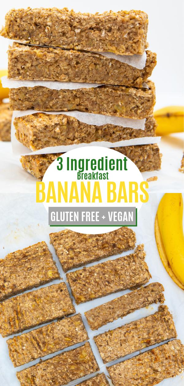 Breakfast Banana Bars - 3 ingredients Gluten Free & Vegan -   14 healthy recipes Clean 3 ingredients ideas