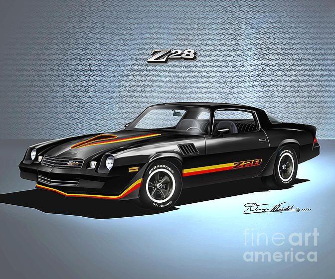 Chevrolet Camaro Drawing 1978 Camaro Z28 Tuxedo Black By Danny